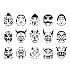 asian theatrical mask japanese cultural art vector image