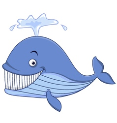 Blue whale cartoon vector image