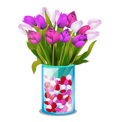 bouquet spring flowers tulips vector image