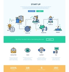 Business start up line flat design banner with vector image