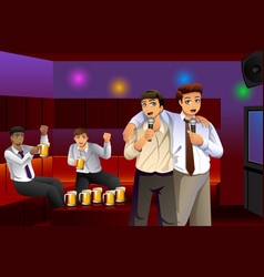 businessmen singing karaoke after work vector image