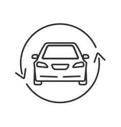 Car with circle arrow linear icon vector