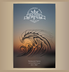 Card menu seafood restaurant vector