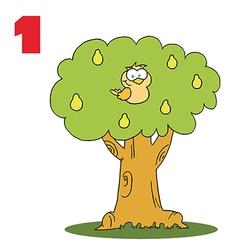 Cartoon bird in a tree vector
