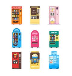 cartoon vending machine set vector image