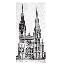Chartres cathedral gothic catholic cathedral vector