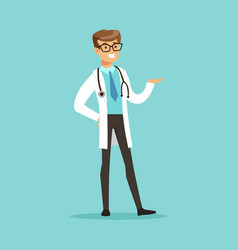 Cheerful male doctor character standing vector