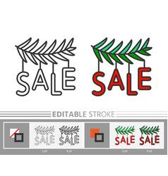 Christmas tree branch garland sale line icon vector