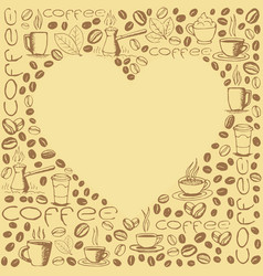 coffee symbols background with heart shape inside vector image