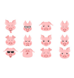 Collection of funny pig emoticon characters vector