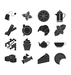 Collection of tea icons tea time vector