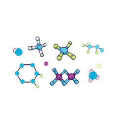 collection various molecules with atoms and vector image