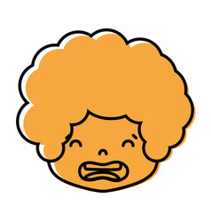 Color boy head with curly hair and disgusted face vector
