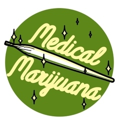 Color vintage medical marijuana emblem vector