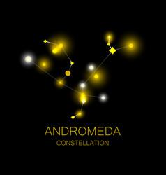 Constellation andromeda bright yellow stars vector