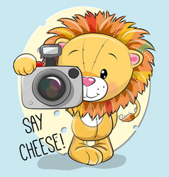 Cute cartoon lion with a camera vector