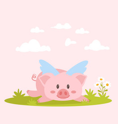 cute pink lying pig with wings vector image