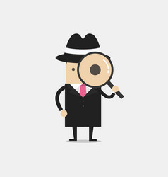 Detective holding a magnifying glass vector