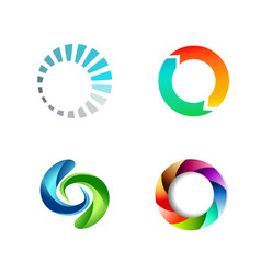 Different round circle sign logo set vector
