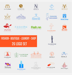 fashion shoping simple logo collection set vector image
