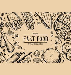 Fast food retro advertising background vector