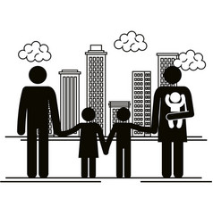 father and mother with kids silhouettes vector image