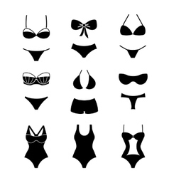 Female swimsuits and swimwears icons vector