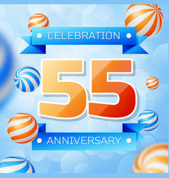 Fifty five years anniversary celebration design vector