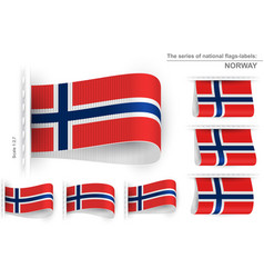 Flag tag clothes label sticker sewn set norway vector