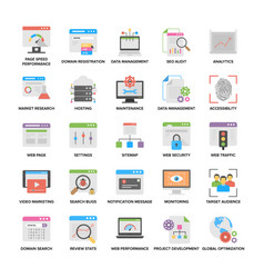 Flat icons of web and seo vector