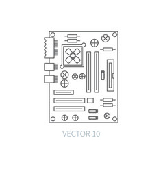 Flat line computer part icon - motherboard vector