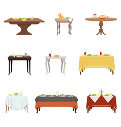 Flat set of wooden dinner tables with vector