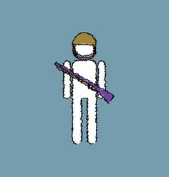 Flat shading style icon soldier with gun vector