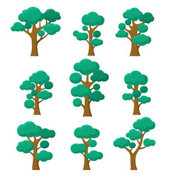 forest trees set natural plants eco foliage on vector image