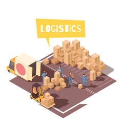 Freight sorting isometric composition vector