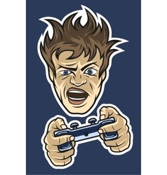 Gamer with a joystick On dark background vector
