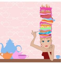 Girl cake vector