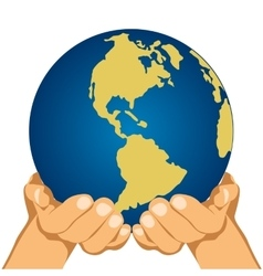 Globe in hands isolated over white background vector image