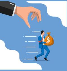Hand tries to grab money running businessman vector