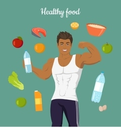 Healthy Food Concept Sportive Man After Diet vector