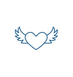 heart with wings line icon concept heart with vector image