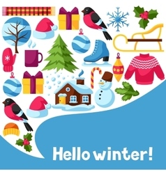 Hello winter background merry christmas happy vector