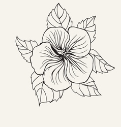 Hibiscus flower leaf for Coloring book page vector image