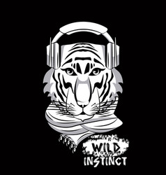 hipster wild animal print for t shirt vector image