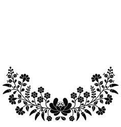 Hungarian black floral folk pattern - Kalocsai emb vector