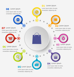 Infographic template with shopping icons vector
