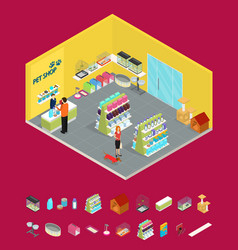 interior pet shop and elements part isometric view vector image