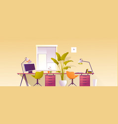 Interior workplace at home office banner vector