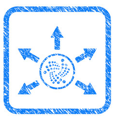 Iota spend arrows framed stamp vector