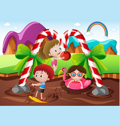 Kids playing in chocolate river in fantacy land vector